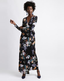 Chica-Loca Dark Floral Wrap Maxi Dress Black/Multi