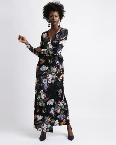 bcea2afc38 Chica-Loca Dark Floral Wrap Maxi Dress Black Multi