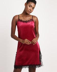 UB Creative Short Velvet Dress Red
