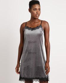 UB Creative Short Velvet Dress Silver Grey