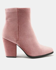 Legit Corduroy Block Heel Ankle Boots Pink