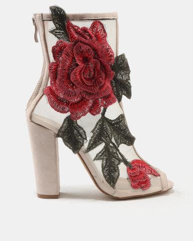 Legit Legit Peeptoe Heeled Mesh Boots with Embroidery Blush official cheap online outlet great deals cheap geniue stockist 2auvKsvn