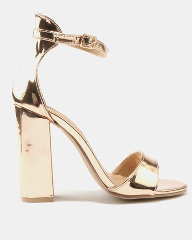 de64c4c2baa7 Legit Mirror Metallic Block Heels With Ankle-Strap Rose Gold