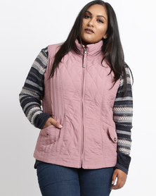 Queenspark Plus Quilted Sleeveless Puffer Woven Jacket Pink