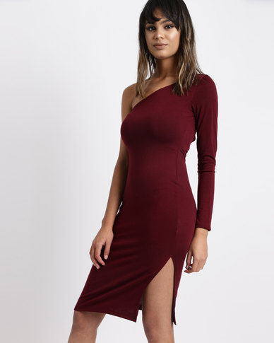 0b9bd06c03 Legit Long Sleeve One Shoulder Tube Dress Burgundy