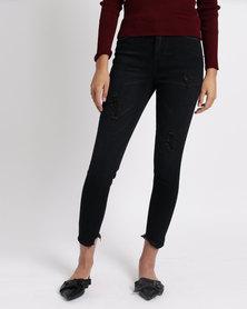 Legit Skinny Jeans With Abrasion And Chewed Hem Black