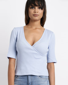 Legit Fitted Rib Top With Wrap Front Cashmere Blue