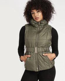 Legit Sleeveless Belted Puffer Jacket Fatigue