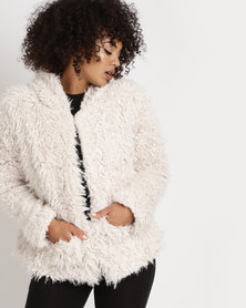 Legit Hooded Teddy Faux Fur Coat Cream