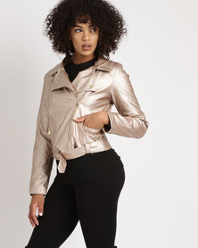 Legit Belted PU Biker Jacket with Quilted Detail Rose Gold