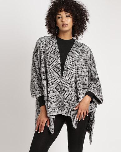 Legit Jacquard Blanket Cardi Grey