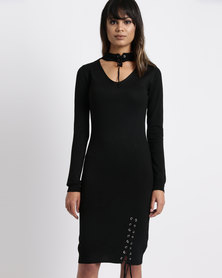 Legit Eyelet Detail Knitwear Dress Black