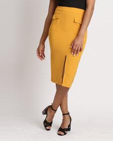 Legit Pocket Detail Front Slit Pencil Skirt Mustard Yellow