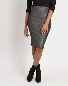 Legit Foil Pencil Skirt Silver