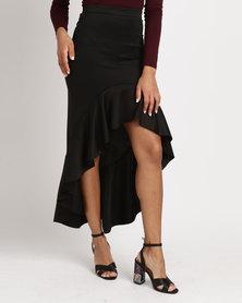 Legit Flounce Hem Maxi Skirt Black