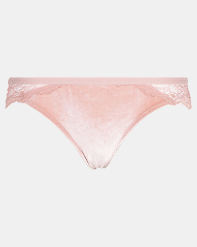 Legit Velour and Lace Panties Blush