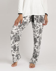 Poppy Divine Long Printed With Bow Pants Ivory & Black