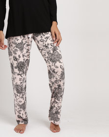 Poppy Divine Long Printed With Bow Pants Rose & Black