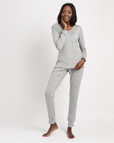 Poppy Divine PJ Set With Cuff Pants Grey