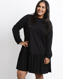 Utopia Plus Dropped Waist Tunic Dress Black