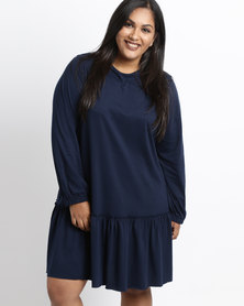 Utopia Plus Dropped Waist Tunic Dress Navy Blue