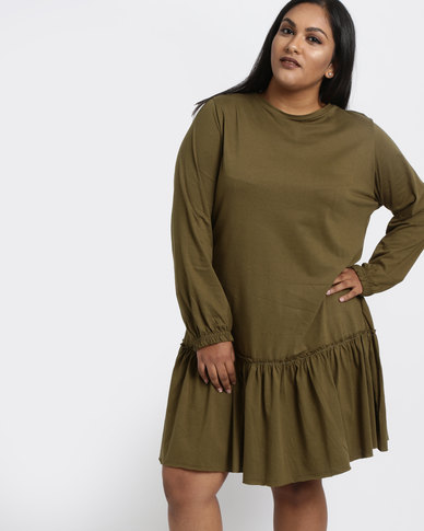 Utopia Plus Dropped Waist Tunic Dress Olive