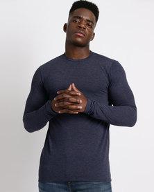Utopia Basic Long Sleeve T-Shirt Navy Melange