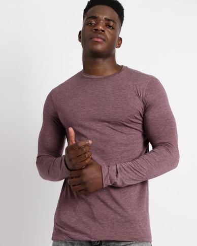 Utopia Basic Long Sleeve T-Shirt Burgundy Melange