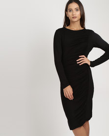 Utopia Draped Knit Dress Black