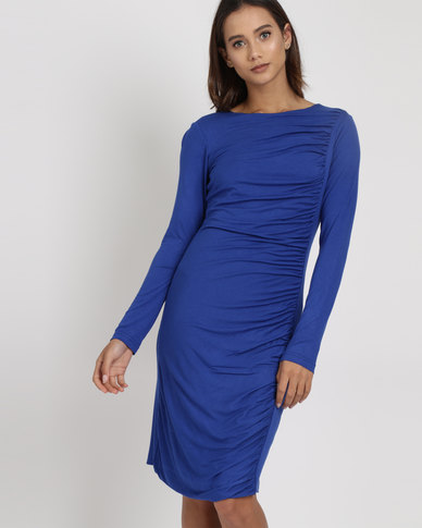 Utopia Draped Knit Dress Cobalt Blue