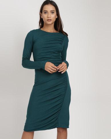 Utopia Draped Knit Dress Forest Green