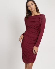 Utopia Draped Knit Dress Burgundy