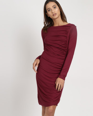 Utopia Draped Knit Dress Burgundy