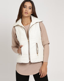 G Couture Sleeveless Puffer Jacket White