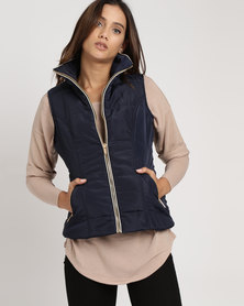 G Couture Sleeveless Puffer Jacket Blue