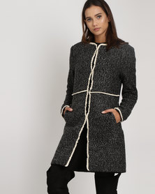 G Couture Long Boucle Jacket Dark Grey Melange