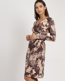 G Couture Flower Printed Wrap Dress With Buckle Brown