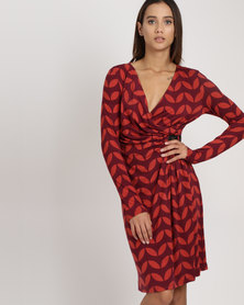 G Couture Flower Printed Wrap Dress With Buckle Red/Burgundy