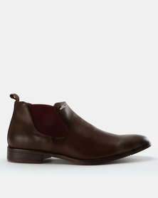 Anton Fabi Gino Formal Slip On Ankle Boots Brown