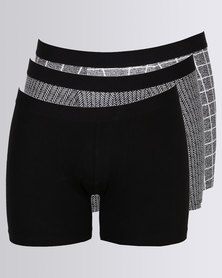 New Look 3 Pack Trunks Black Check