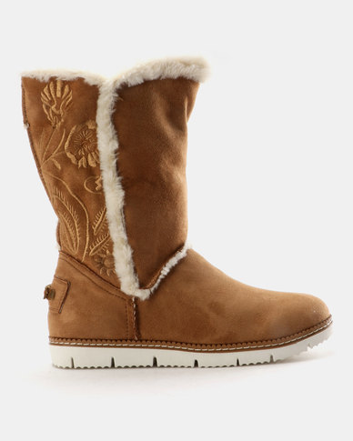 Queue Queue Faux Fur Lined Boots With Embroidery Tan