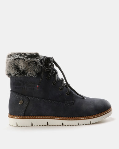 Queue Hiking Boots with Faux Fur Collar Navy