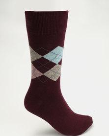Falke Argyle Socks Burgundy