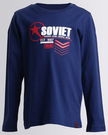 Soviet Boys Demarco Long Sleeve Logo Tee Blue