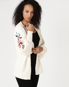 Crave Bell Sleeve Cardi With Embroidery On Sleeves Ivory