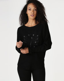 Crave Long Sleeve Knit With Tree Pattern On Front Black