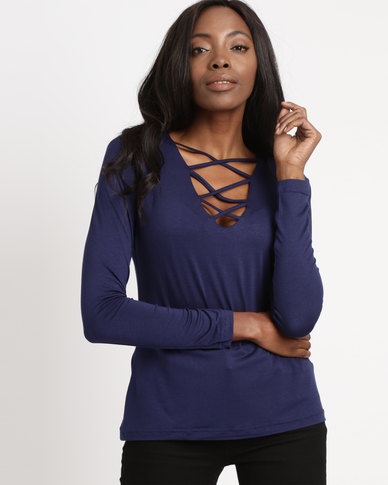 Utopia Viscose Top With Criss Cross Detail Navy