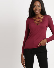 Utopia Viscose Top With Criss Cross Detail Burgundy