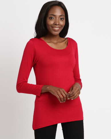 Utopia Longer Length Basic Tee Red