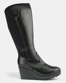 98e434183edd Cheap Ideal Authentic Winter round Refresh Platform boots navy imitation  leather  textile
